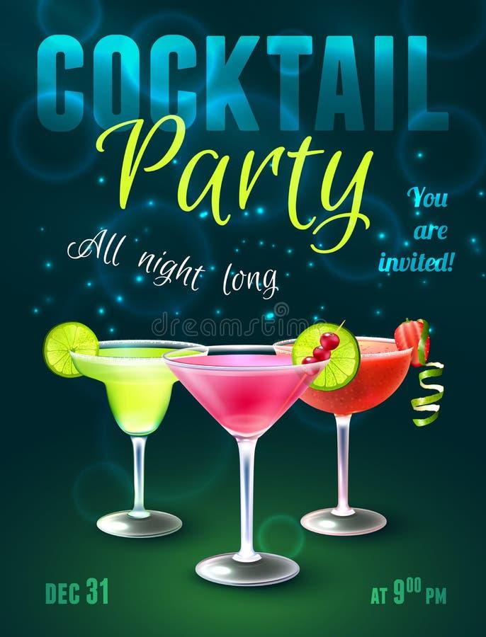 Cartaz do cocktail ilustração royalty free
