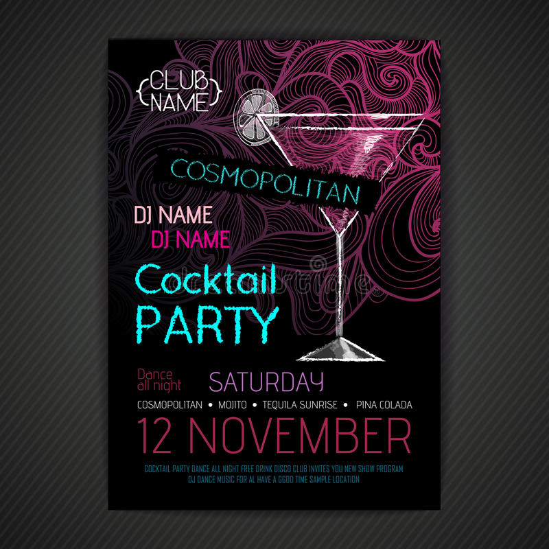 Cartaz do cocktail do disco ilustração stock