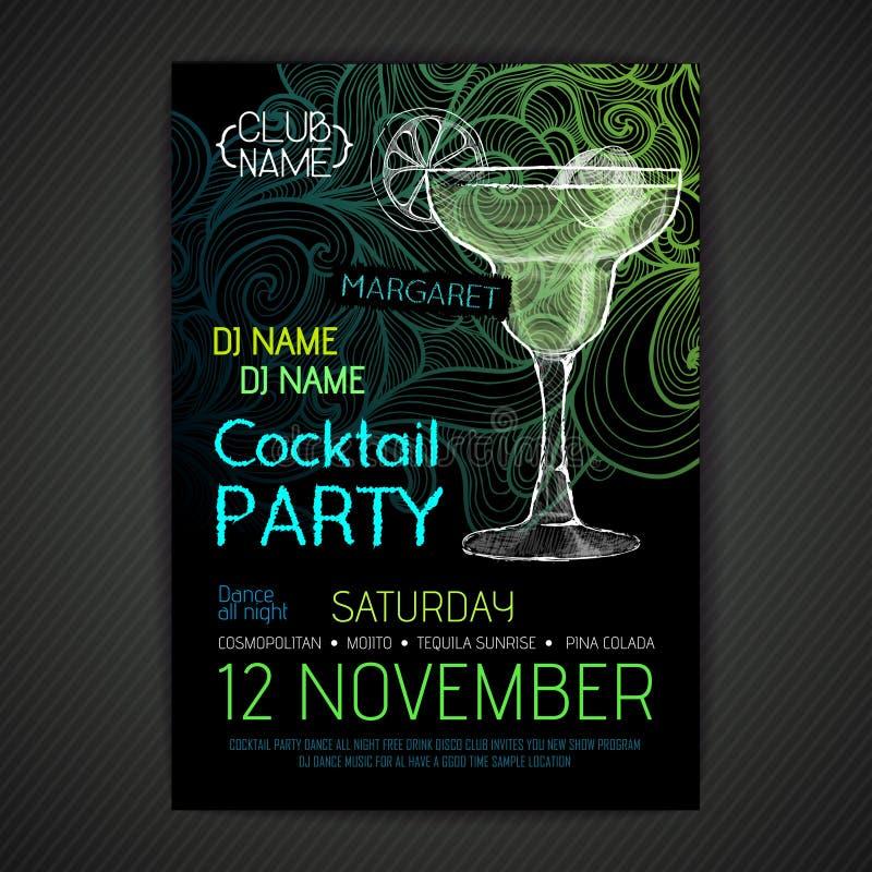 Cartaz do cocktail do disco ilustração royalty free