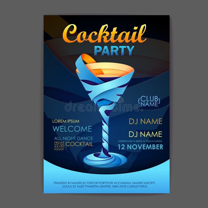 Cartaz do cocktail do disco projeto do cocktail 3D ilustração stock