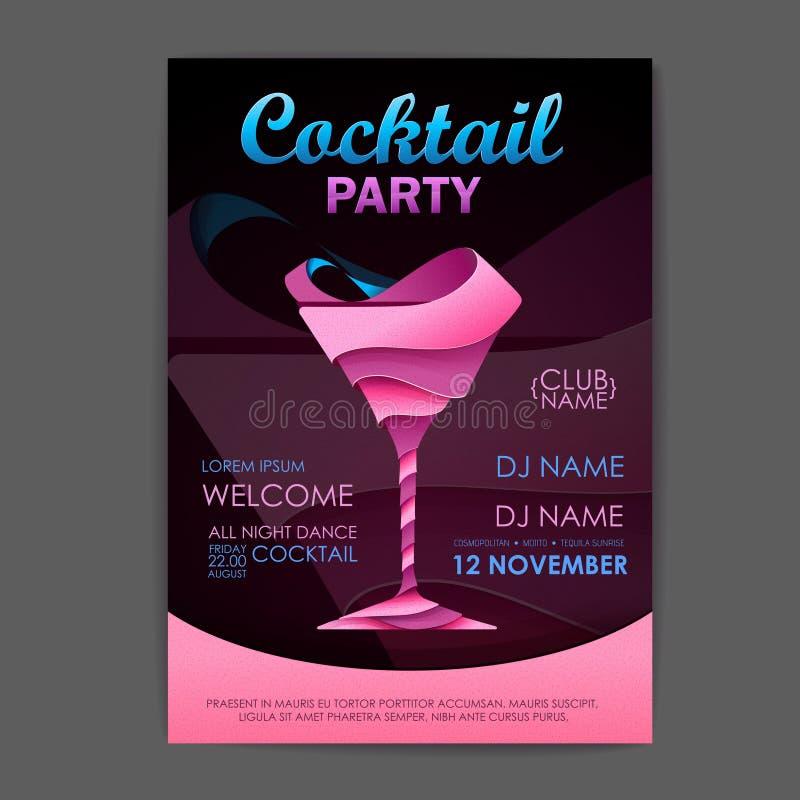 Cartaz do cocktail do disco projeto do cocktail 3D ilustração royalty free