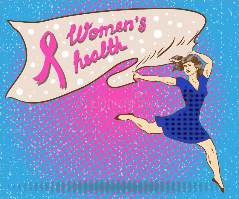 Cartaz do conceito da saúde da mulher no estilo cômico do pop art A mulher guarda a bandeira com símbolo da fita do rosa do cânce ilustração stock