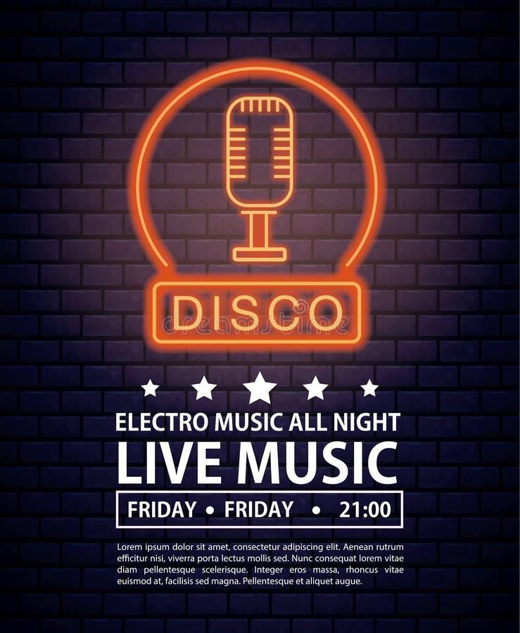 Cartaz do convite da música do disco eletro ilustração royalty free
