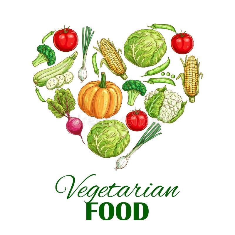 Cartaz do coração do alimento do vegetariano de vegetais do esboço ilustração do vetor