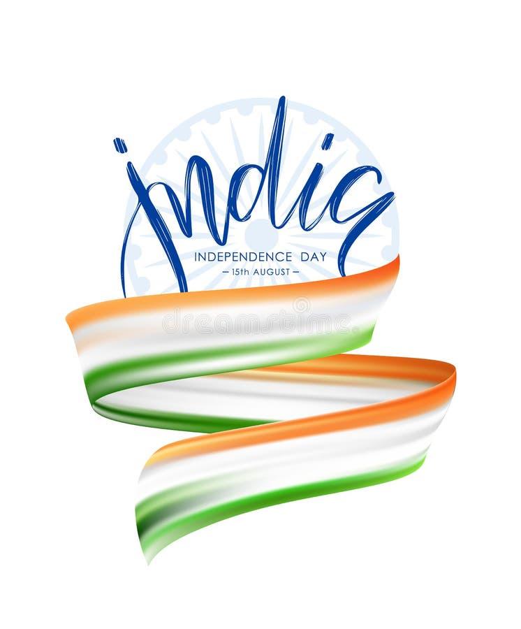 Cartaz do cumprimento do Dia da Independência feliz de Índia com curso abstrato da escova ou de fita com cores da bandeira indian ilustração royalty free