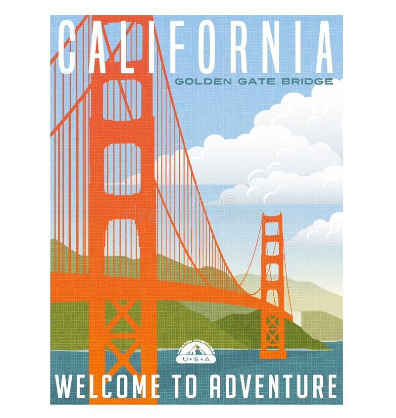 Cartaz do curso de Califórnia, de Estados Unidos ou etiqueta ilustração stock