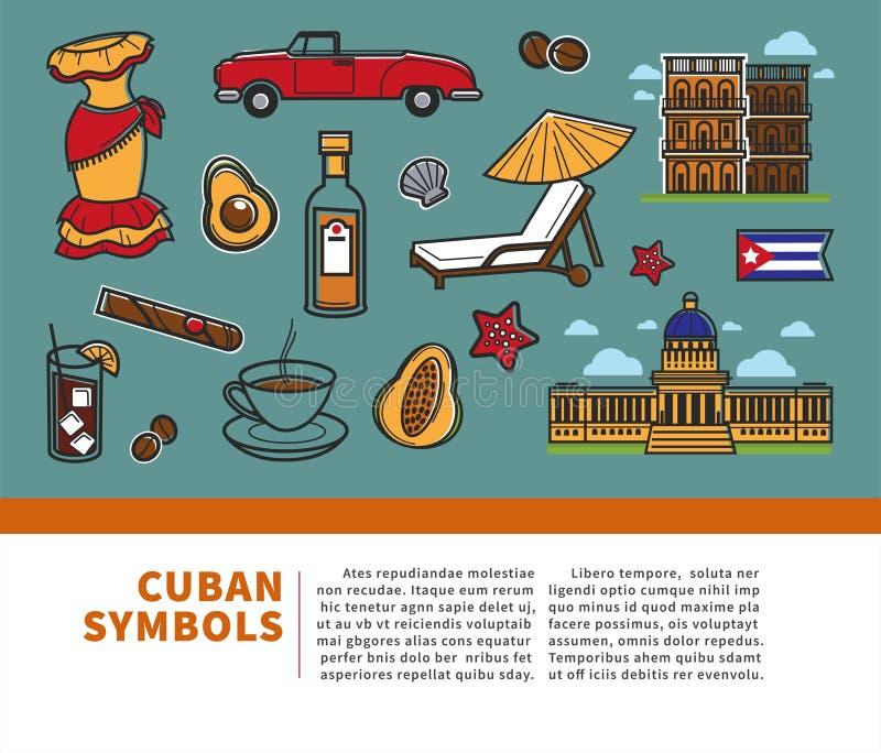 Cartaz do curso de Cuba com informação em símbolos famosos da cultura cubana e em marcos de Havana ilustração do vetor