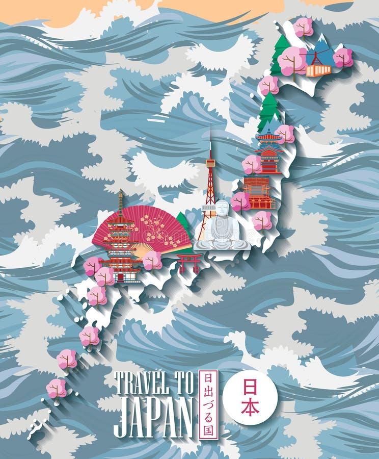 Cartaz do curso de Japão com mapa e mar - viaje a Japão ilustração royalty free