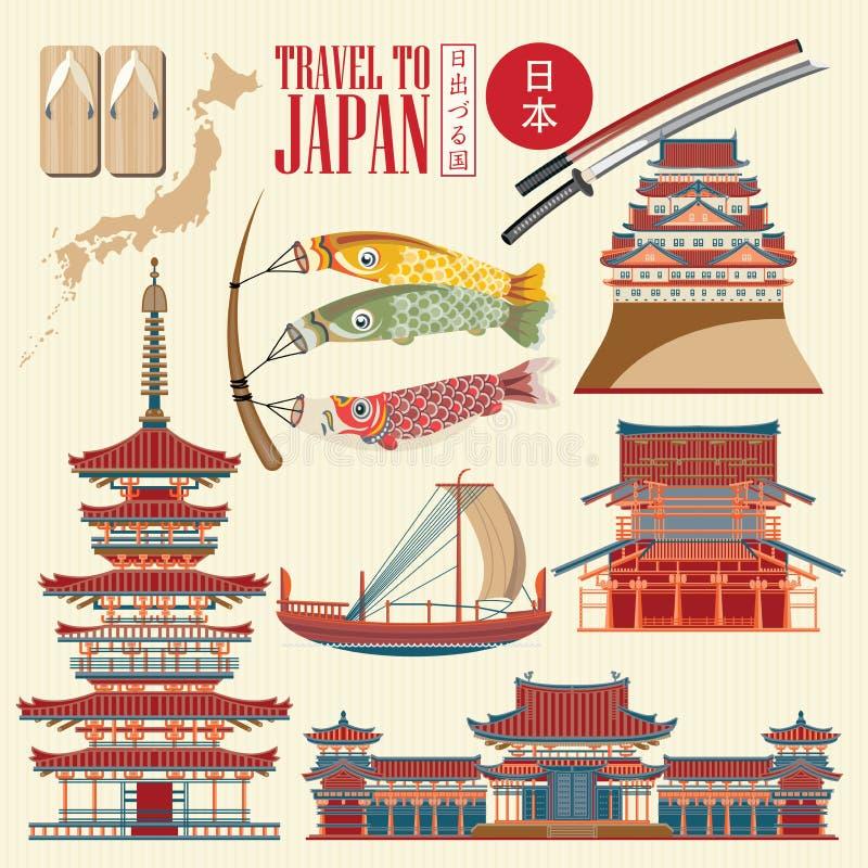 Cartaz do curso de Japão no fundo claro - viaje a Japão ilustração stock