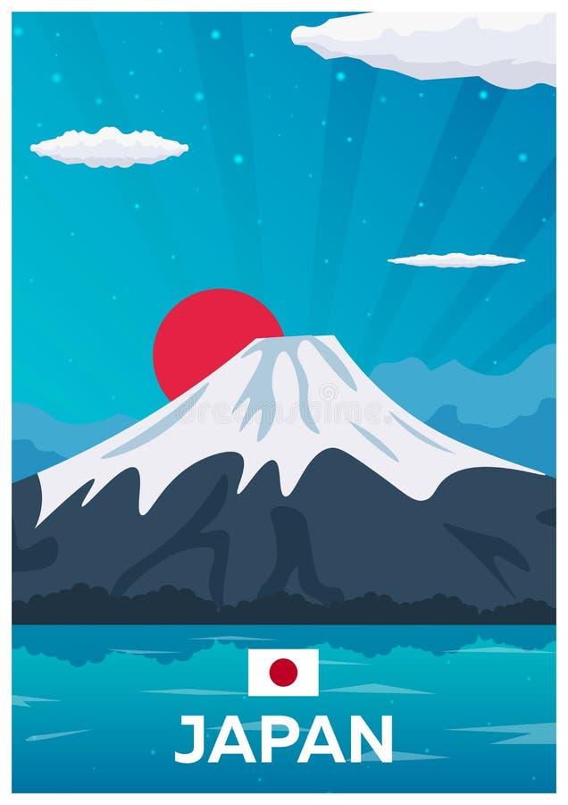 Cartaz do curso a Japão Ilustração lisa do vetor ilustração royalty free