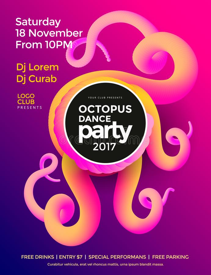 Cartaz do dance party ilustração stock