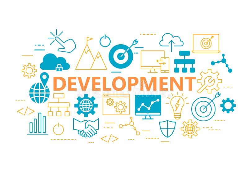 Cartaz do desenvolvimento com os ícones lisos ajustados ilustração royalty free