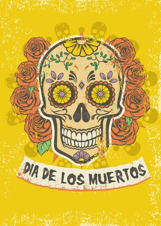 Cartaz do diâmetro de los muertos ilustração stock