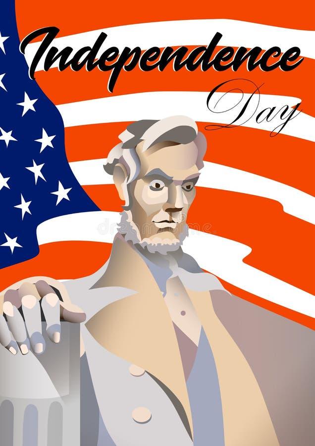 Cartaz do Dia da Independência dos EUA Monumento de Abraham Lincoln, bandeira EUA no fundo e texto Ilustração do vetor ilustração do vetor