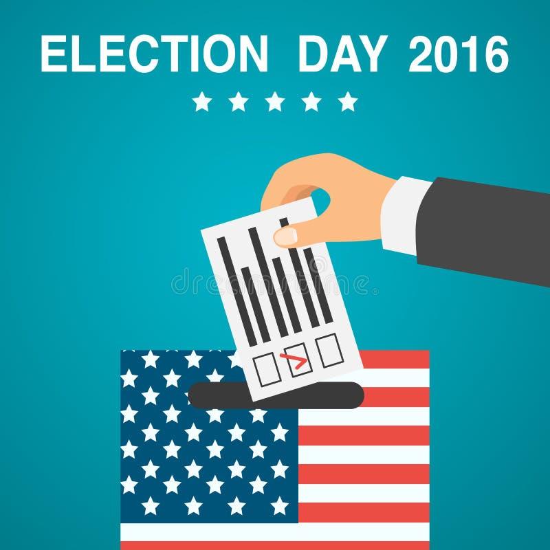 Cartaz do dia de eleição 2016 EUA ilustração royalty free