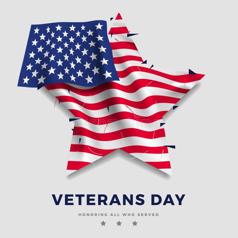 Cartaz do dia de veteranos, bandeira realística de América com a dobra na forma da estrela e texto no fundo cinzento e 3d ilustração stock