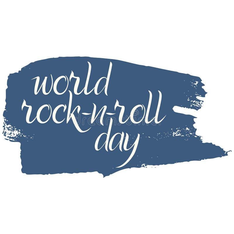 Cartaz do dia do Rocha-n-rolo do mundo no estilo do grunge ilustração royalty free