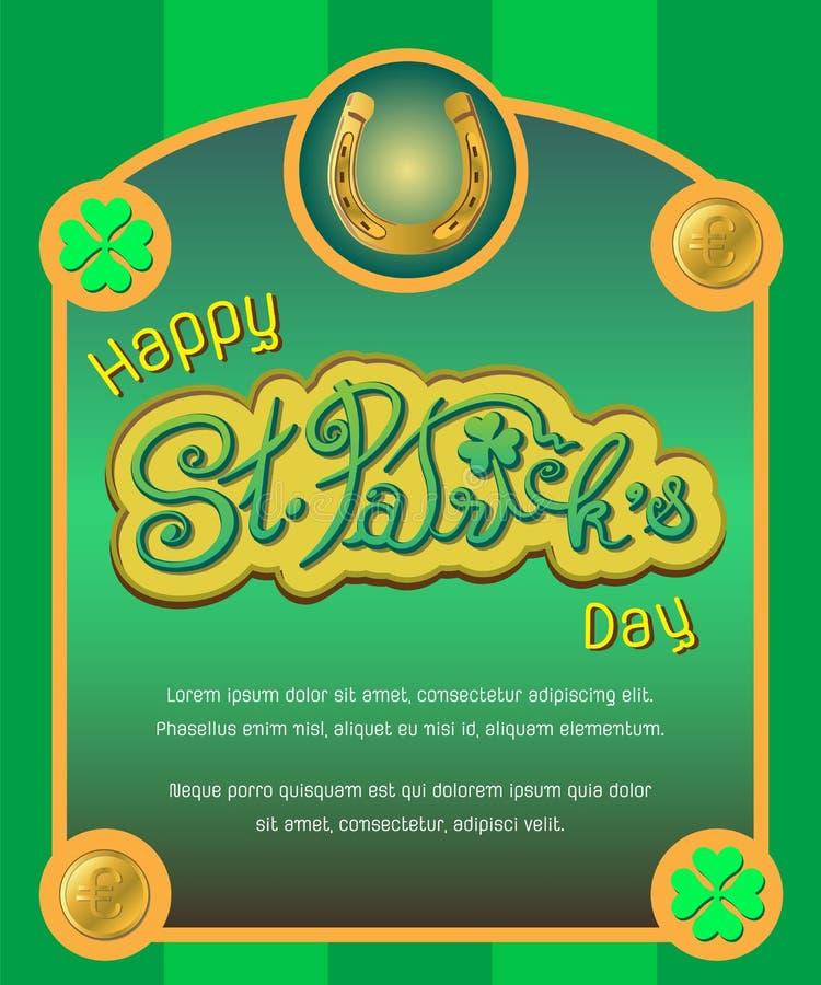 Cartaz do dia do ` s de St Patrick imagens de stock