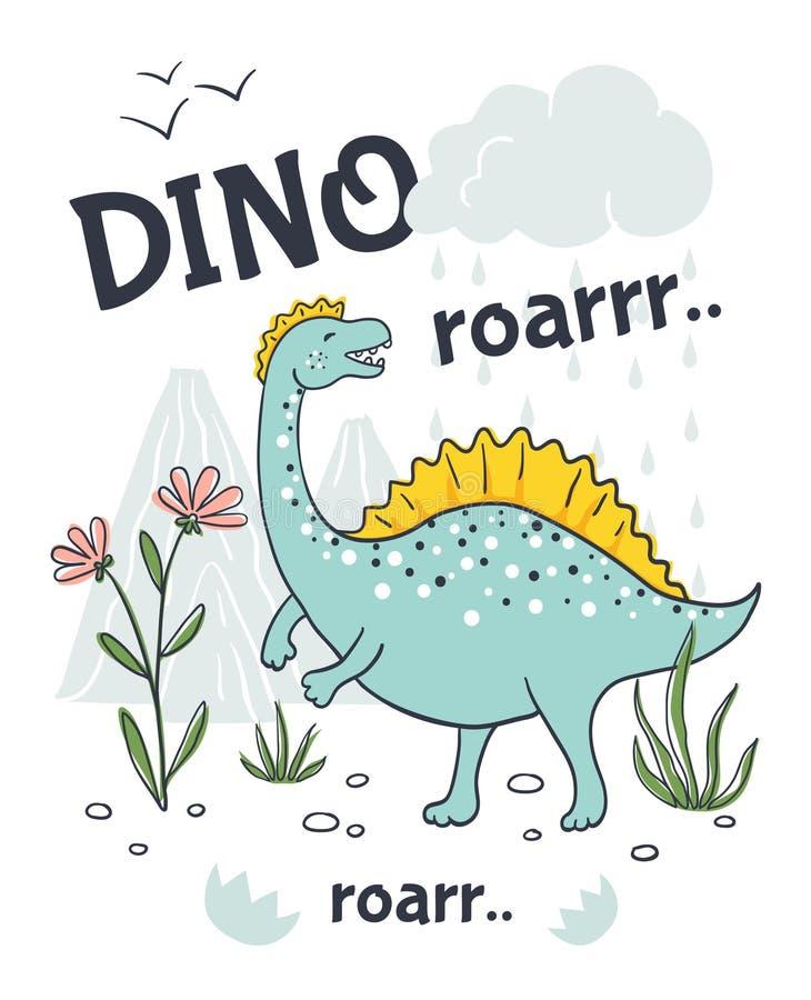 Cartaz do dinossauro da garatuja Caráter animal dos desenhos animados bonitos, dragão amigável tirado mão do bebê Projeto da cópi ilustração stock