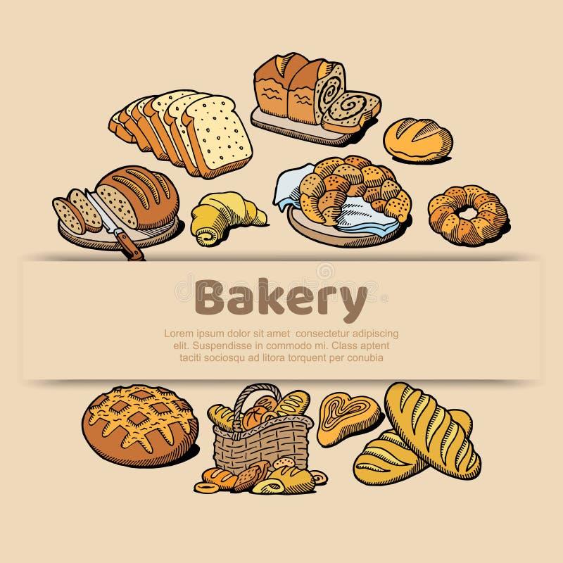 Cartaz do esboço da padaria ou da casa do pão do pão cozido Molde do projeto do vetor para a loja do padeiro do bagel fresco do p ilustração royalty free