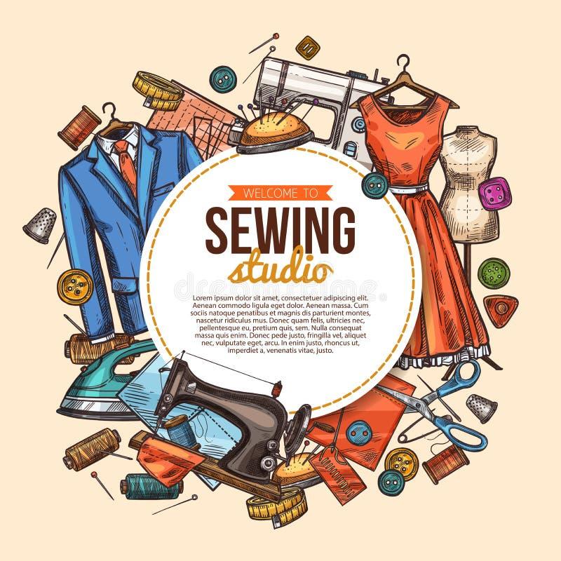 Cartaz do esboço do estúdio da costura para a loja do alfaiate ilustração stock