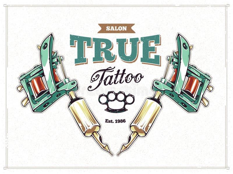 Cartaz do estúdio da tatuagem ilustração stock