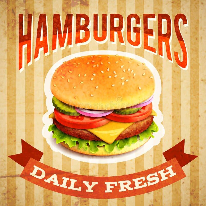 Cartaz do fast food ilustração stock