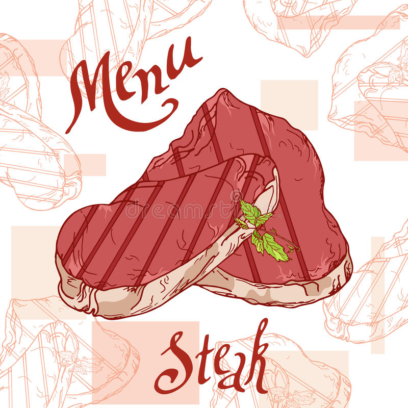 Cartaz do fast food com bife Ilustração retro da tração da mão Projeto do hamburguer do vintage molde ilustração royalty free