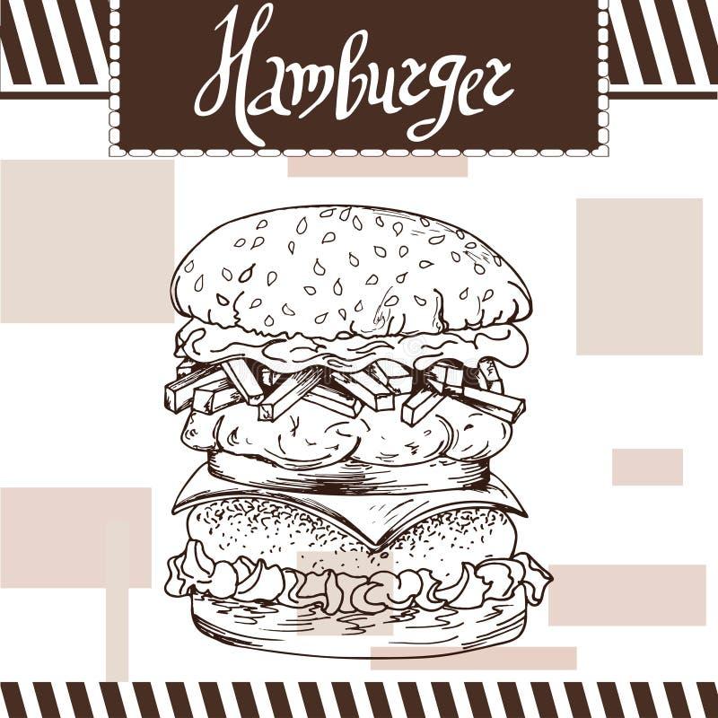 Cartaz do fast food com Hamburger Ilustração retro da tração da mão ilustração royalty free