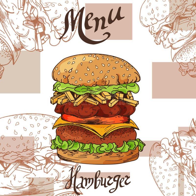 Cartaz do fast food com Hamburger Ilustração retro da tração da mão Projeto do hamburguer do vintage molde ilustração royalty free