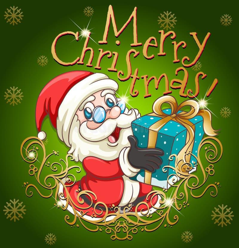 Cartaz do Feliz Natal com Santa e presente ilustração stock
