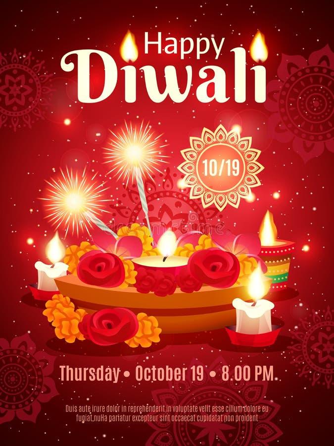 Cartaz do feriado de Diwali ilustração royalty free