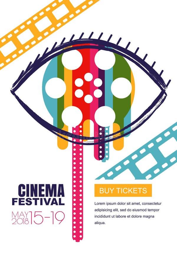 Cartaz do festival do cinema do vetor, bandeira Olho humano com o carretel de filme no aluno Bilhetes de teatro da venda, conceit ilustração do vetor