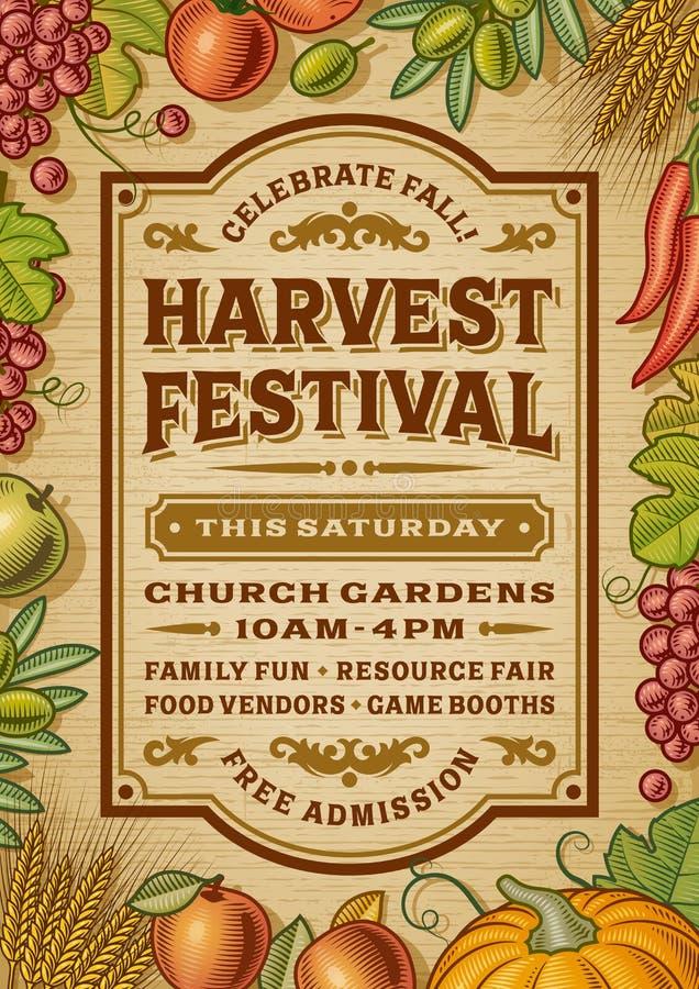 Cartaz do festival da colheita do vintage ilustração stock