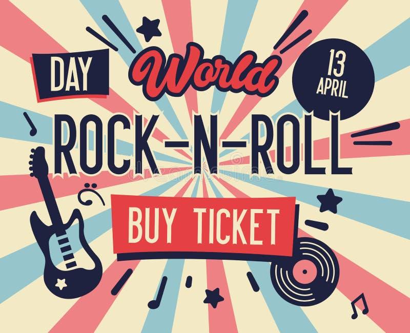 Cartaz do festival da rocha Bandeira do dia do Rocha-n-rolo do mundo com a guitarra para o inseto, folheto, tampa Live Music Conc ilustração do vetor
