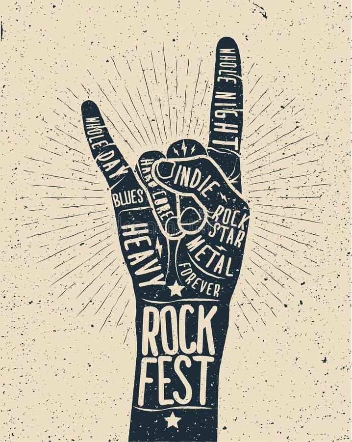Cartaz do festival da rocha Sinal da mão do rock and roll ilustração stock