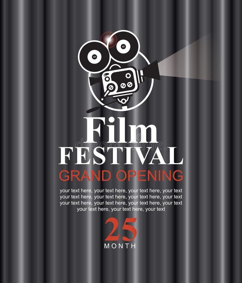 Cartaz do festival de cinema com câmera antiquado ilustração do vetor