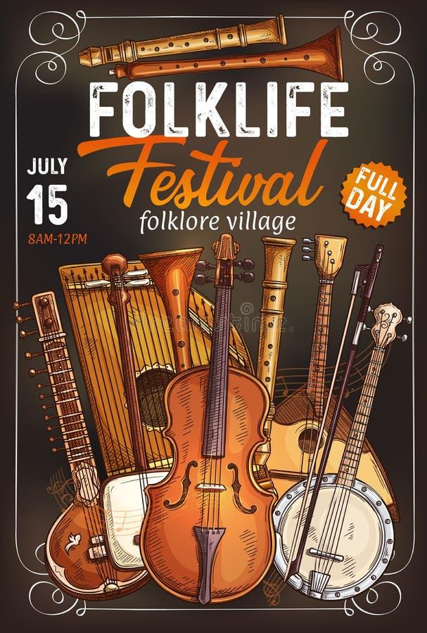 Cartaz do festival de música folk com instrumento musical ilustração royalty free