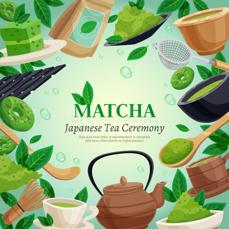 Cartaz do fundo da cerimônia de chá de Matcha ilustração royalty free