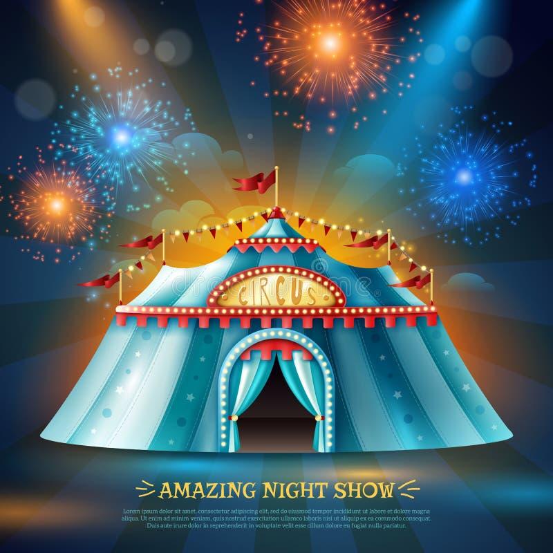 Cartaz do fundo da noite da barraca de Crcus ilustração stock