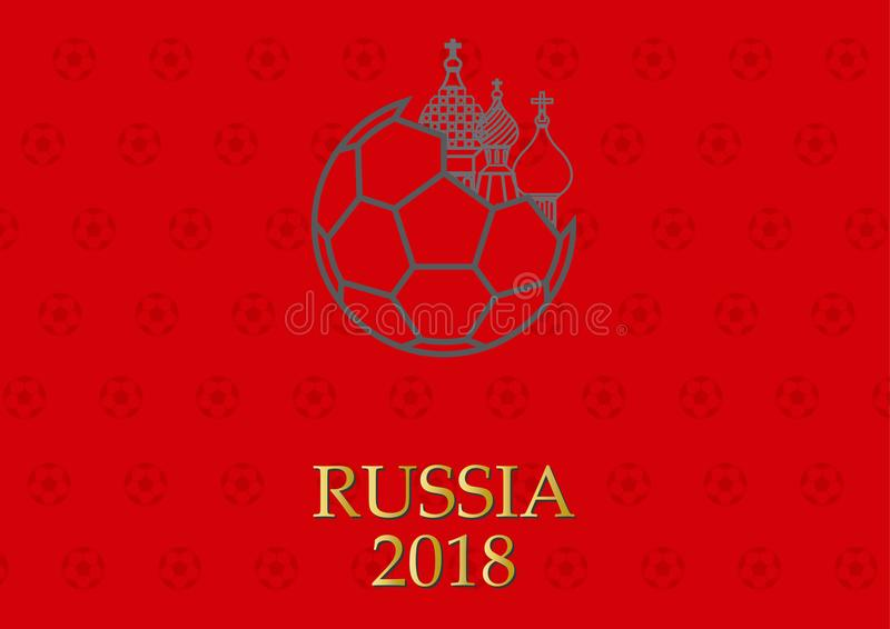 Cartaz do fundo do logotipo do futebol e da abóbada de Rússia ilustração stock