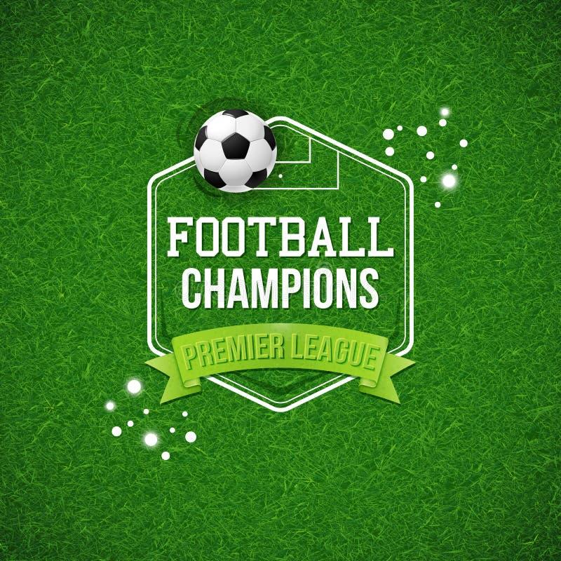 Cartaz do futebol do futebol Fundo do campo de futebol do futebol com ty ilustração stock