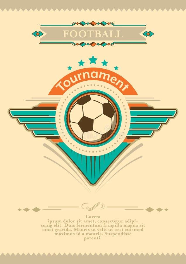 Cartaz do futebol no estilo do vintage com estrelas, emblema e bola Convite do competiam ilustração do vetor