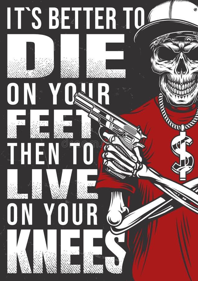 Cartaz do Gangsta com esqueleto ilustração royalty free
