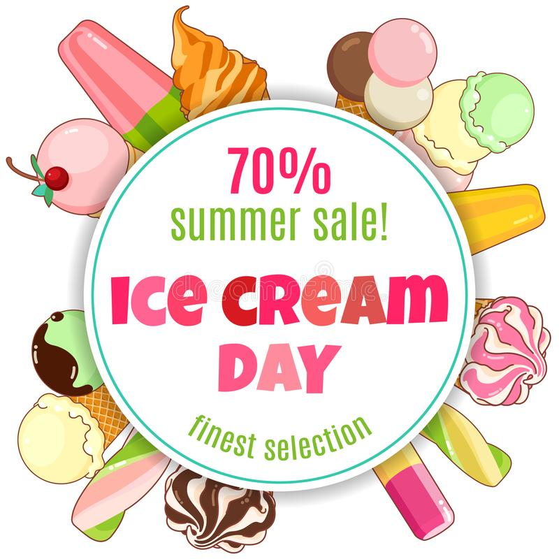 Cartaz do gelado Gelado brilhantemente colorido, cones do waffle, picolés em um fundo bonito Ilustração dos desenhos animados ilustração do vetor