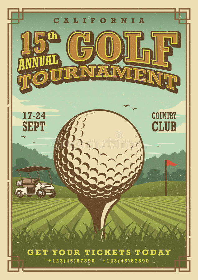 Cartaz do golfe do vintage ilustração stock