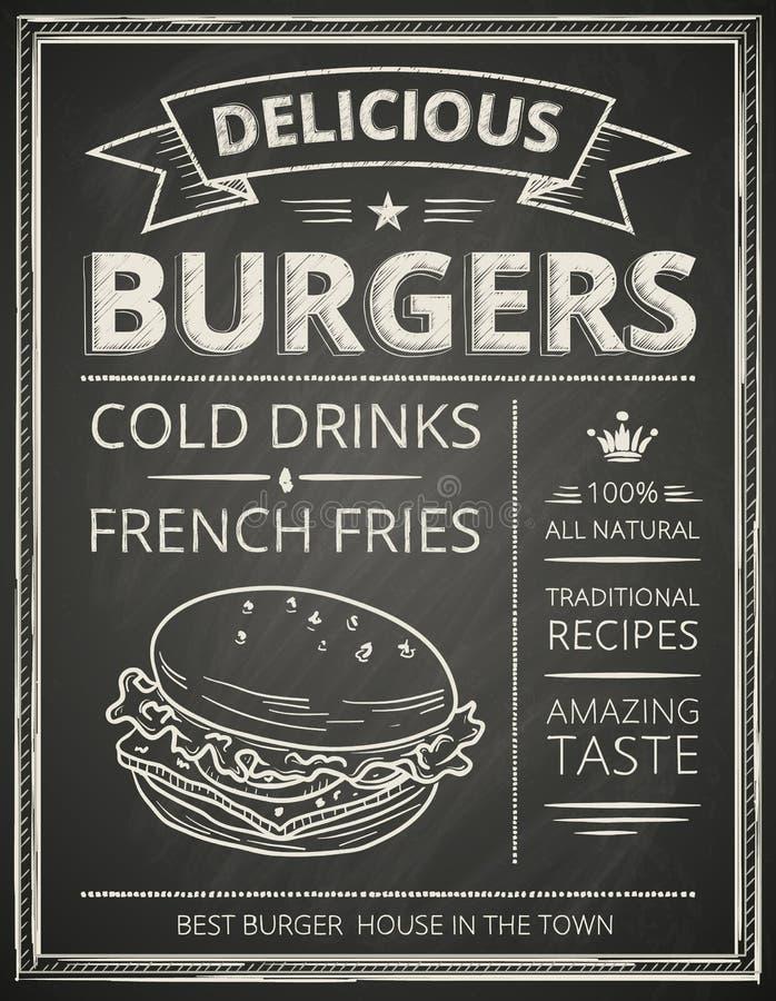 Cartaz do hamburguer ilustração do vetor