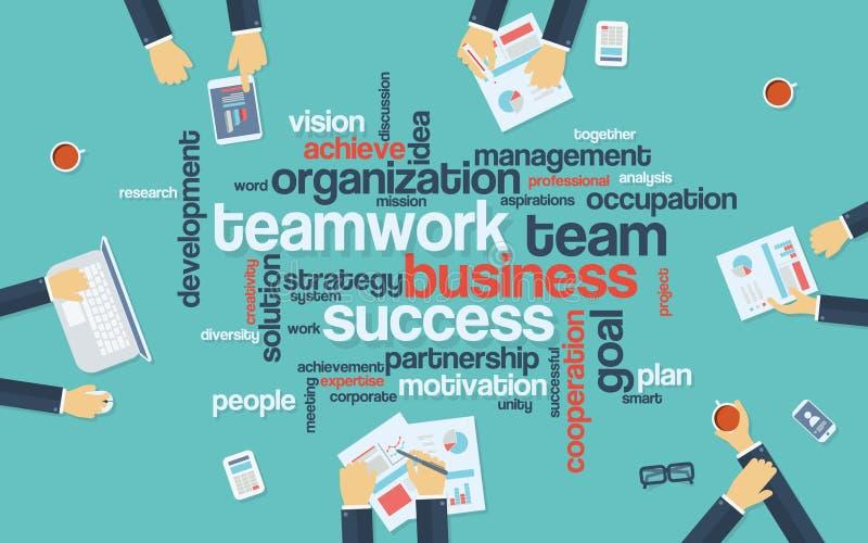 Cartaz do infographics do negócio dos trabalhos de equipa com ilustração royalty free