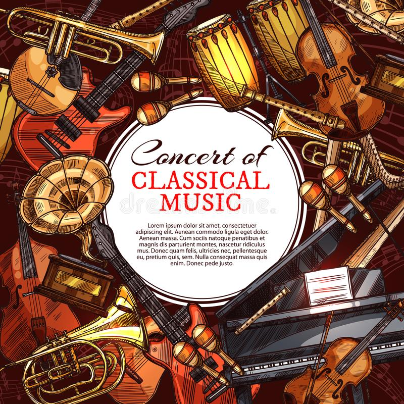 Cartaz do instrumento musical para o projeto do concerto da música ilustração stock