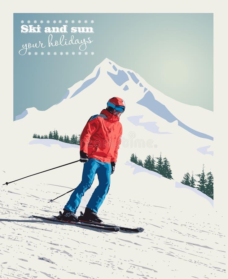 Cartaz do inverno do vetor, fundo O esquiador avançado desliza para baixo a montanha ilustração do vetor